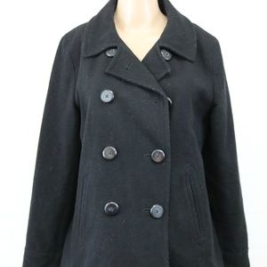 Old Navy sz M Wool Peacoat Double Breasted Black